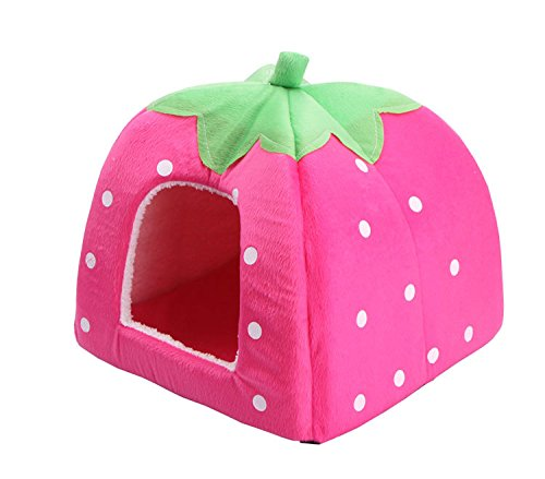 Urban Virgin Pet Dog Cat Bedding Sleep Soft Strawberry Sponge Dome Tent Bed Cushion Nest Pink S(10.210.20.8 ()