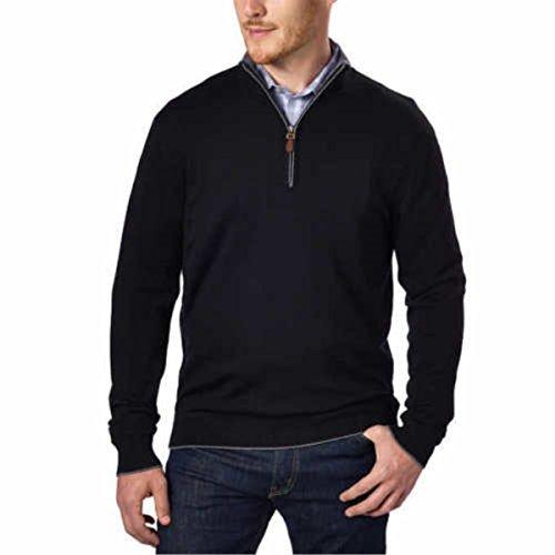 Kirkland Signature Men's Extra Fine Merino Wool ¼ Zip Sweater (Black, Medium)