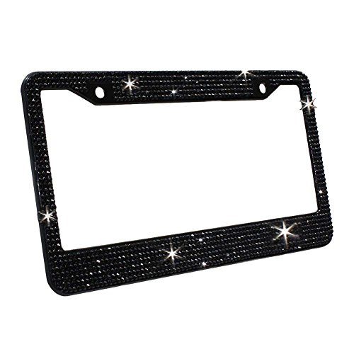 (Carfond 7 Row Handcrafted 1000Pcs Finest 14 Facets SS20 Premium Crystal Diamond Stainless Steel License Plate Frame Bonus Matching Screws Caps (Black crystal))