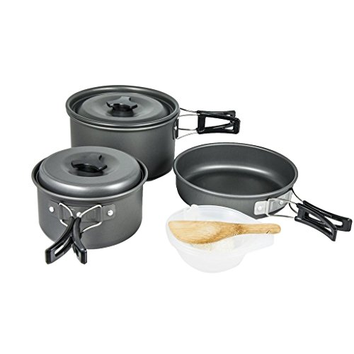 Fits All Non Stick Griddle - KUCHANG Lightweight & Portable Outdoor Camping/Hiking Cookware, Backpacking Cooking Picnic Bowl Pot Pan Set Fit for Two or Three People
