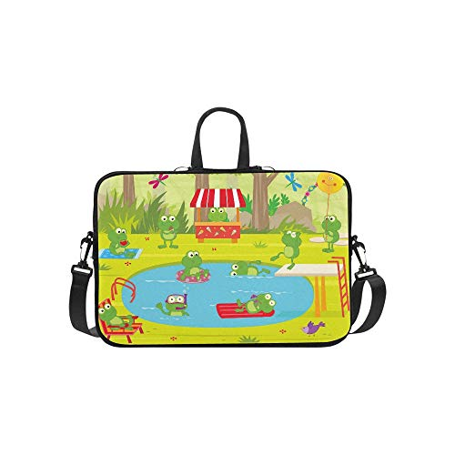 Frogs Pool Party Cute Frogs are Having Fun at Th Pattern Briefcase Laptop Bag Messenger Shoulder Work Bag Crossbody Handbag for Business Travelling -