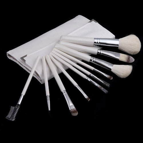 Andoer 10pcs Pro Makeup Brush Set Cosmetic Brush Kit with Folding Case White