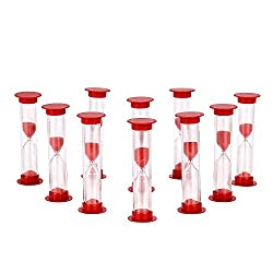 Sand Timer Set Red 10pcs Pack (1 Minute) - Set of One Minute Hour Glasses for Kids, Adults - Comes in a Premium Box by Jade Active