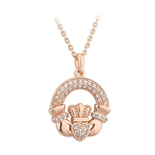 Claddagh Pendant Rose Gold Plated & Crystal From Ireland by Tara