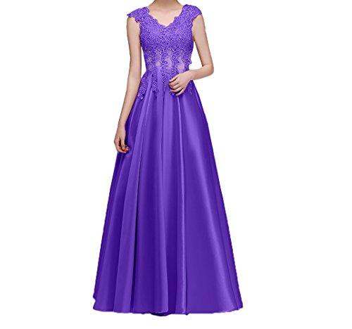 Ballkleider Violett Charmant Spitze Damen Rock lang Satin Promkleider Abendkleider linie A Abschlussballkleider Festlich XOwAqaO