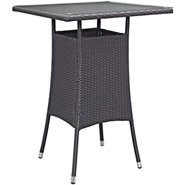 LexMod Convene Small Outdoor Patio Bar Table, Espresso