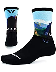 Swiftwick VISION SIX IMPRESSION Running and Cycling Socks, Performance Crew