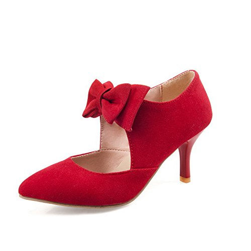 BalaMasa Womens Winkle Pinker Spun Gold Bowknot Stiletto Imitated Leather Pumps-Shoes Red 5FPunUEML