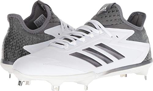 adidas Men's Freak X Carbon Mid Baseball Shoe, FTWR White, Iron, Silver met, 9.5 M US