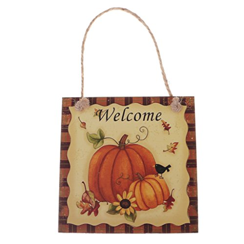 Jili Online Halloween Trick or Treat Party Fall Wooden Plaque Board Door Wall Hanging Sign - Welcome 1, 15 x 15 cm