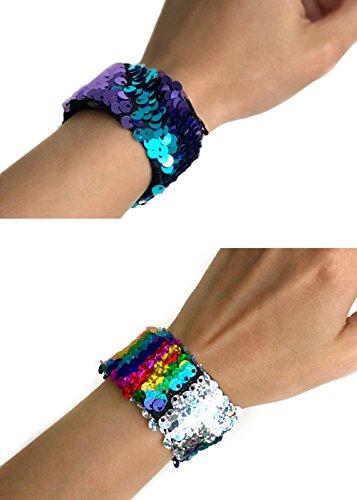 VBK Mermaid Magic Reversible Sequin Wristbands, Color Changing Party Slap Bracelets, Shiny Bangle (Sequin One)