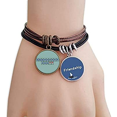 Grand Four Happiness Mahjong Tiles Friendship Bracelet Leather Rope Wristband Couple Set Estimated Price -