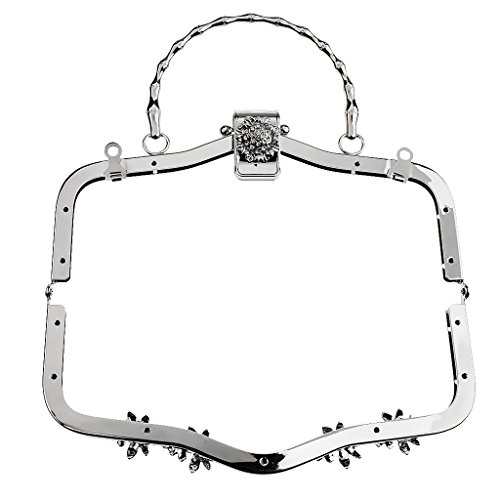 Homyl 20.5cm Arch Metal Bag Frame Crystal Flower Clasp Clutch Handle Sew In Bag Accessories - silver, 21cm by Homyl