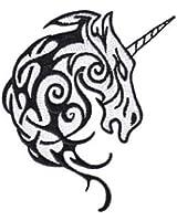 Fantasy Animals Iron on Patch - Unicorn Tribal Head Tattoo Design Applique