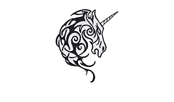 07da14068 Amazon.com: Fantasy Animals Iron on Patch - Unicorn Tribal Head Tattoo  Design Applique: Clothing