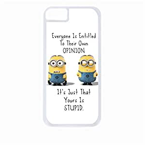 """Everyone is entitled to their own opinion. It's just that yours is stupid.""-Hard White Plastic Snap - On Case-Apple Iphone 4 - 4s - Great Quality!"