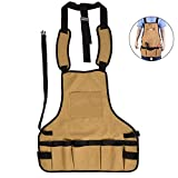 Uarter Work Apron – Heavy Duty Oxford Fabric 15 Pouches Tool Apron Adjustable Neck Waist Strap for Kitchen Bar Gardening, Brown