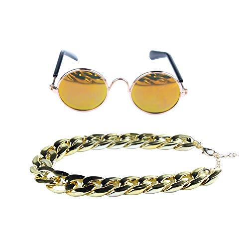 - DERVONUNS Gold Dog Collar and Dog Sunglasses for Small Dogs/Cats,Adjustable Plated Gold Dog Chain Necklace Set for Pet Funny Costume