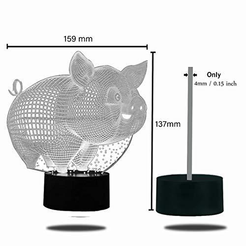 cochon cadeau mignon et d/é Lampe de chevet HeXie avec LED /à sept couleurs changeantes lampe pour la nuit avec bouton smart touch effet illusion doptique en 3D