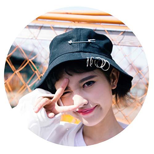Women Fishing Fisherman Outdoor Cap Unisex Iron Ring Bucket Hat Summer Solid Color Pescador Sun Hats,Black -