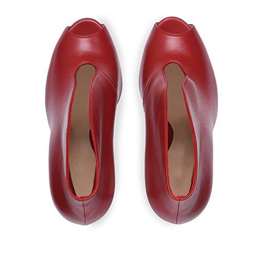 KJJDE Mariage Sexy Bouche Grande De De Red Haut 41 Talon Fête Club Transgenre Poisson TLJ Femme Taille 9 Plateforme Sandales Chaussures Soirée De rHpqCr