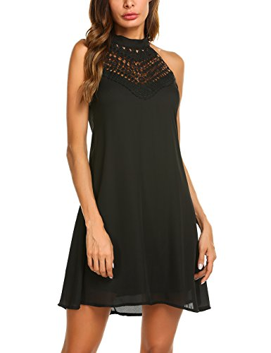 - Sweetnight Womens Halter Neck Chiffon Tunic Tank Dress T Shirt Dresses (Black, S)