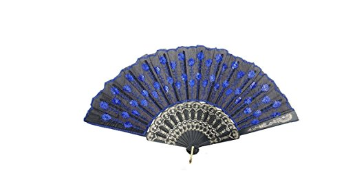 (HAO Elegant Colorful Embroidered Flower Peacock Pattern Sequin Fabric Folding Handheld Hand Fan Hand-Crafted)