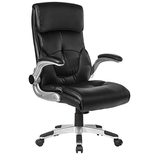 B2C2B Leather Office Chair Adjustable Tilt Angle and Seat Height - High Back Executive Computer Desk Chair, Comfort Ergonomic Design for Home Office Black ()