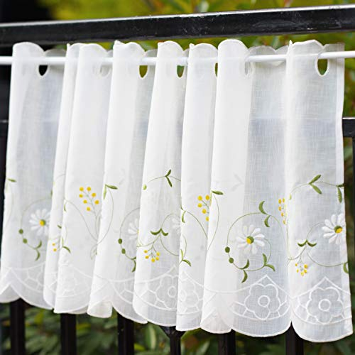 Embroidered Curtain Valance - WeMay Panel Embroidery Pastoral Style Cafe Curtain Kitchen Curtain Floral Window Valance,18X60 inch,Daisy