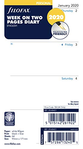 Filofax Personal Week on Two Pages English Monday Start 2020 Diary