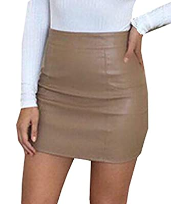 Tuesdays2 Women's Casual Slim Solid Tight Short Faux Leather Bodycon Sexy Mini Skirt