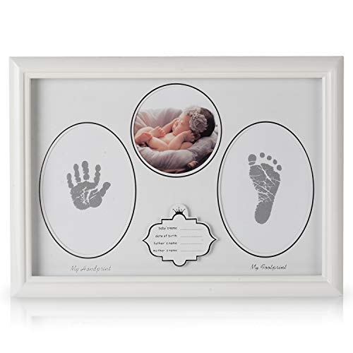 - Baby Picture Frame Decoration Handprint Footprint Kits Wood for Newborn Infant Boys Girls Baby Shower Gift Pets Photo Keepsake