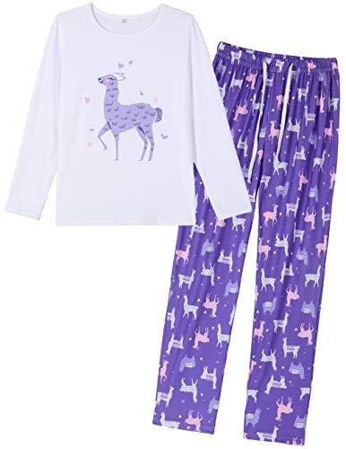 HONG HUI Womens Long Sleeve Sleepwear Casual 2 Piece Pajamas Long Cute PJ Set ()