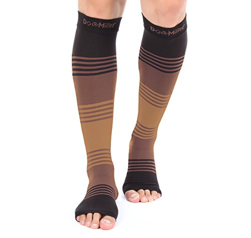 Premium Open Toe Compression Sleeve Dress Series 1 Pair 20 30Mmhg Strong Support Graduated Sock Pressure Sports Running Recovery Shin Splints Varicose Veins Doc Miller  Blackbrowntan  X Large