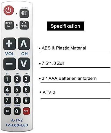 Alkia - Mando a distancia universal con botón grande A-TV2, ajuste básico para Lg, Vizio, Sharp, Zenith, Panasonic, Philips, RCA, no requiere programa para personas mayores: Amazon.es: Electrónica