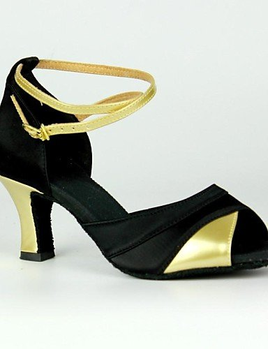 La mode moderne Sandales femmes personnalisables Chaussures de danse latin/Salsa personnalisés Satin Argent/Or Talon,Golden,US8.5/EU39/UK6.5/CN40