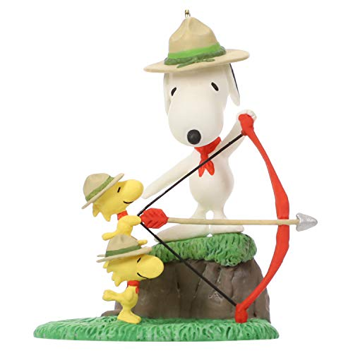 - Hallmark Keepsake Christmas Ornament 2019 Year Dated Peanuts Snoopy and The Beagle Scouts Archery Practice,