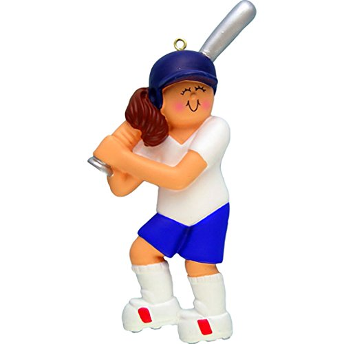 Personalized Softball Girl Christmas Tree Ornament 2019 - Brunette Athlete Score Kitten Mush-Ball Stick Ladies Coach College Hobby School Profession Mitt - Free Customization (Brown Hair Female)