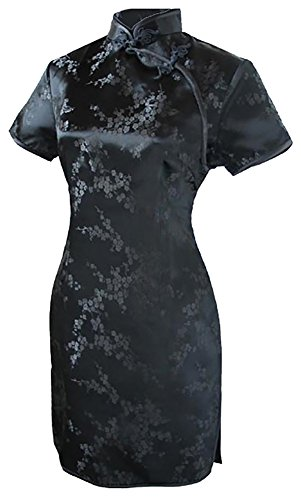 7Fairy Women's Sexy Black Floral Mini Chinese Evening Dress Cheongsam Size 12 US