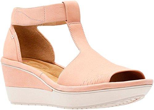 CLARKS Womens Wynnmere Avah Wedge Sandal, Peach Nubuck, Size 7