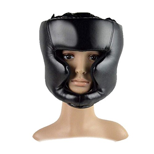 COSYOU Black Headgear Head Guard Training Helmet Kick Boxing Protection Gear