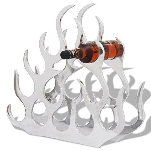 Festnight 11 Bottles Aluminum Tabletop Wine Rack Stand Holder, Silver