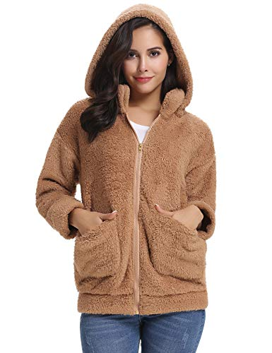 Abollria Women's Long Sleeve Coat Casual Lapel Fleece Fuzzy Faux Shearling Zipper Warm Winter Oversized Outwear Jackets Khaki