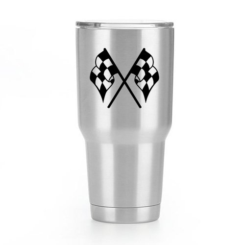 Checkered Flags Vinyl Decal Sticker ( 2 Pack!!! ) | Yeti Tumbler Cup Ozark Trail RTIC Orca | Decals Only! Cup not Included! | Black | 2 - 3 X 2.6 inch | KCD1796