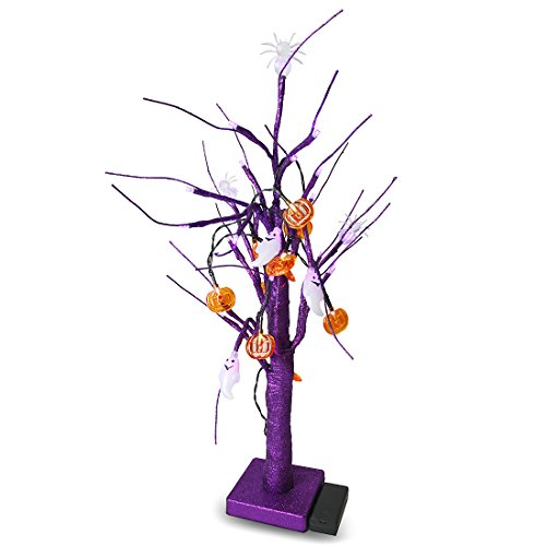 Blue Panda Halloween LED Sparkle Tree with 24 Lights - Glitter Table Lamp Halloween Tree Pumpkins and Ghost - Purple, 4 x 16 x 4 Inches