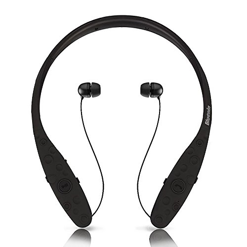 Bluetooth Headphones, Bluenin 980 Wireless Headsets Sweatproof In-ear Earbuds Sports Neckband Earphones Built-in Mic with Noise Cancellation for iPhone 7 plus 7 6s 6 5s 5 Samsung and Android (Black) (Eclipse 3g Door)