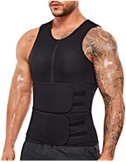 Wonderience Sauna Suit for Men Waist Trainer Neoprene Sweat Vest with Adjustable Waist Trimmer Belt