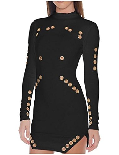 Abetteric Women's Long Sleeve Skinny Hollow Out Side Slit Bodycon Dress Black XS