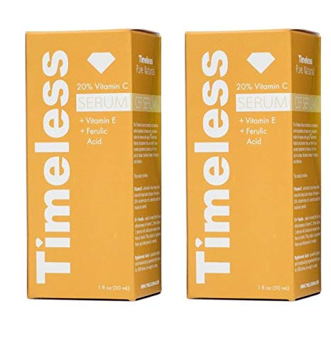 Timeless Skincare 20% Vitamin C E Ferulic Acid Serum 1-Ounce Super Savings (2 Pack) by Timeless