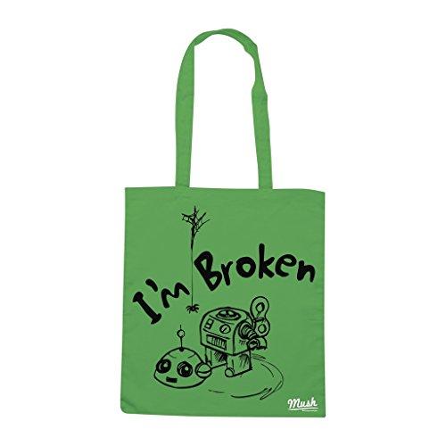 Borsa Robot I'M Broken - Verde prato - Funny by Mush Dress Your Style